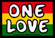 "One Love - Rasta Colors - Small Bumper Sticker / Decal (4.75"" X 2.75"")"