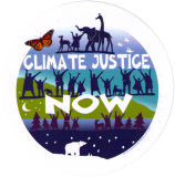 "Climate Justice Now - Small Bumper Sticker / Decal (4"" Circular)"