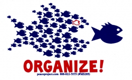 """Organize! - Small Bumper Sticker / Decal (4.5"""" X 2.75"""")"""
