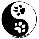 "Yin Yang Paw Prints - Small Bumper Sticker / Decal (3"" Circular)"