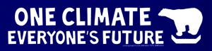 "One Climate, Everyone's Future - Small Bumper Sticker / Decal (7"" X 1.75"")"