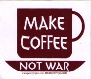 "Make Coffee Not War - Small Bumper Sticker / Decal (3.5"" X 3"")"
