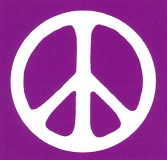 "Peace Sign - White over Purple - Small Bumper Sticker / Decal (3.25"" X 3.25"")"