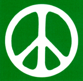 "Peace Sign - White over Green - Small Bumper Sticker / Decal (3.25"" X 3.25"")"