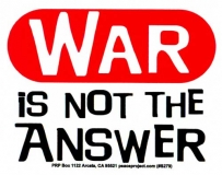 "S279 - War is Not the Answer - Bumper Sticker / Decal (4.25"" X 3.5"")"