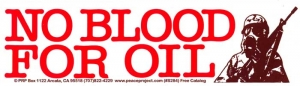 "S284 - No Blood for Oil - Bumper Sticker / Decal (9.25"" X 2.5"")"