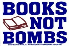 S344 - Books Not Bombs - Bumper Sticker