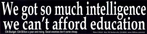 S403 - We Got So Much Intelligence We Can't Afford Education - Bumper Sticker