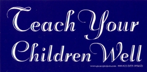 "S432 - Teach Your Children Well - Bumper Sticker / Decal (5.5"" X 2.75"")"