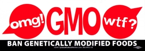 "OMG - GMO WTF! - Bumper Sticker / Decal (11"" X 4"")"