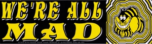 """We're all Mad - Bumper Sticker / Decal (10.5"""" X 3"""")"""