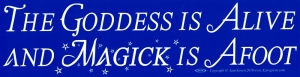 "The Goddess is Alive and Magick is Afoot - Bumper Sticker / Decal (11.5"" X 3"")"