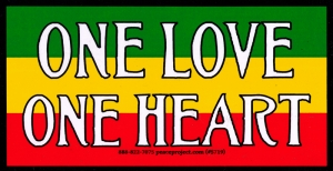 "One Love One Heart - Bumper Sticker / Decal (5.75"" X 3"")"