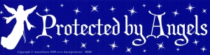 "Protected By Angels - Bumper Sticker / Decal (11.5"" x 3"")"