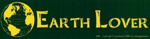 "Earth Lover - Bumper Sticker / Decal (11.5"" X 3"")"