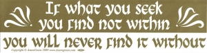 If What You Seek You Find Not Within, You Will Never Find It Without - Bumper St