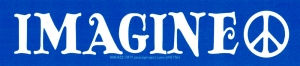 "Imagine (with peace sign) - Bumper Sticker / Decal (10.5"" X 2.5"")"