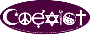 "Coexist - Oval Bumper Sticker / Decal (9"" X 3.5"")"