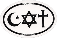 "Coexist (oval) - Bumper Sticker / Decal (6"" X 4"")"