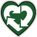 "Recycle Love - Bumper Sticker / Decal (4.5"" X 4.5"")"