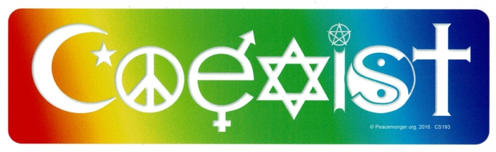 Coexist in a rainbow bumper sticker decal 10 5
