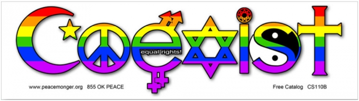 Coexist equal rights bumper sticker decal 10 5