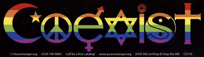 Rainbow coexist bumper sticker decal 10 5