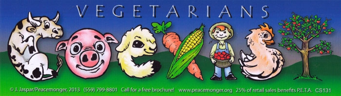 Vegetarian coexist bumper sticker decal 10 5