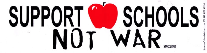 Support schools not war bumper sticker decal 11 5