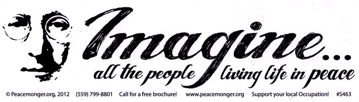 Imagine all the people living life in peace john lennon bumper sticker