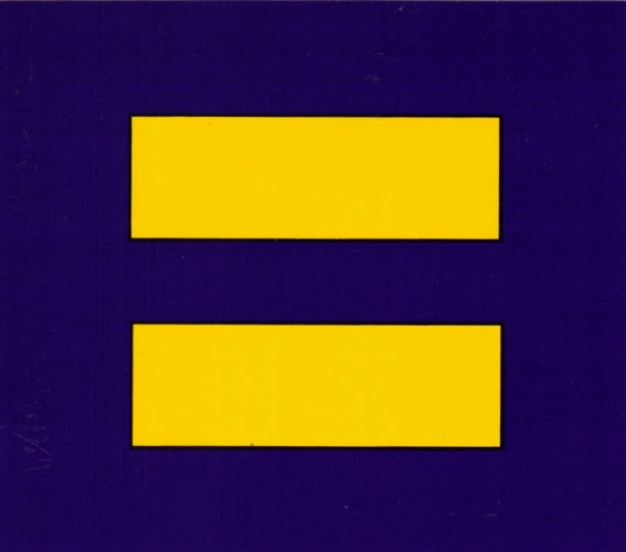 Bumper Sticker Yellow Equal Sign Blue