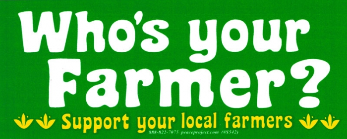 Whos your farmer support your local farmers bumper sticker decal