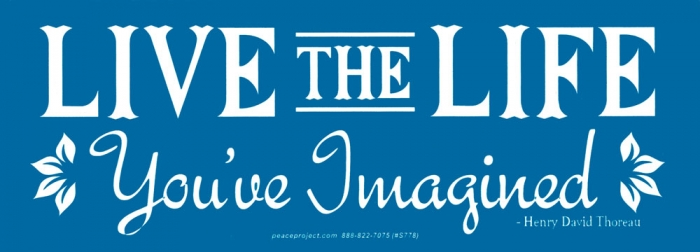 Live the life youve imagined henry david thoreau bumper sticker decal