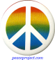 B047 - Peace Sign Over Rainbow Colors - Button