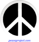 B138 - Peace Sign White on Black - Button