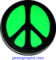 B0234G - Peace Sign - Black over Green - Button