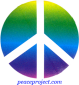 B597 - Peace Sign Over Rainbow - Button
