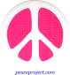 B841 - Peace Sign - White over Pink - Button