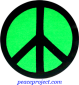 B901G - Peace Sign - Black over Green - Button