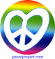 Peace Sign - Heart Shaped On  A Rainbow Background - Button