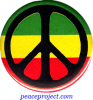 Peace Sign - Black Over Rasta Colors - Button