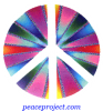 "Peace Sign - White Over Burst Of Colors - Button / Pinback (1.5"")"
