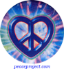Peace Sign - Heart Shaped Over Tye-Dye - Button