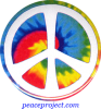 B1151 - Peace Sign - Over Tie-Dye Swirl - Button