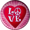 B1224 - Love (with heart background) - Button