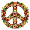 "Psychedelic Flower Peace Sign - Button (1.5"")"