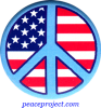 B613 - Peace Sign over US Flag - Button