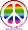 B859 - Peace Sign - White Over Rainbow - Button