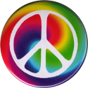 Peace Sign Over Swirly Rainbow - Button