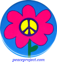 B171 - Peace Sign Flower - Button